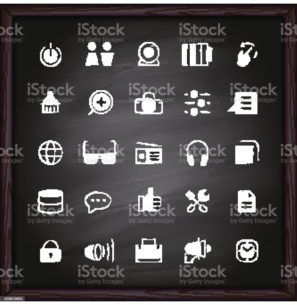 Social media icons on chalkboard vector art illustration