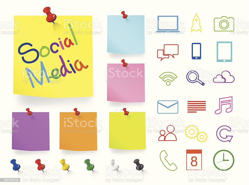 Social Media Icons on Note Pad royalty-free stock vector art