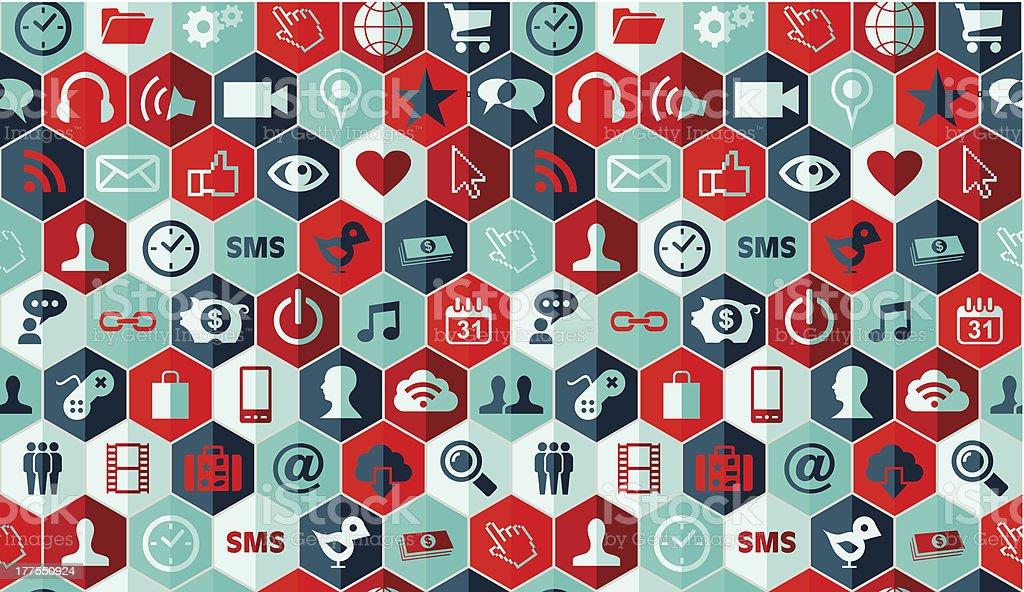 Social media icons pattern royalty-free stock vector art