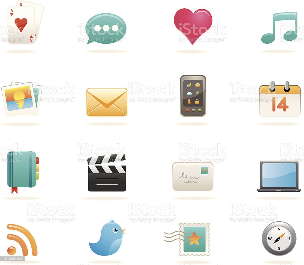 Social media icons - satin royalty-free stock vector art