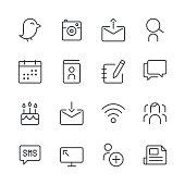 Social Media Icons set 1   Black Line series