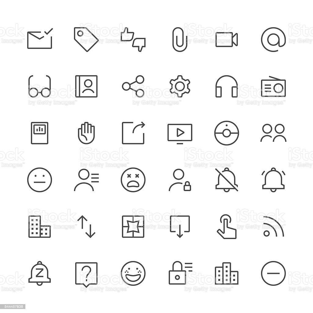 Social Media icons set 3 | Thin Line series vector art illustration