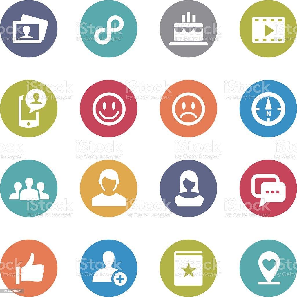 Social Media Icons Set - Circle Series vector art illustration