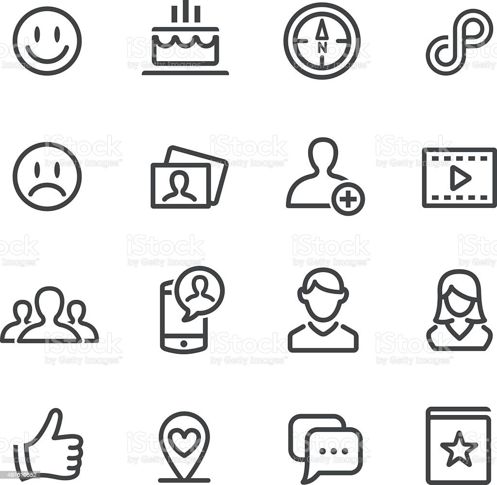 Social Media Icons Set - Line Series vector art illustration