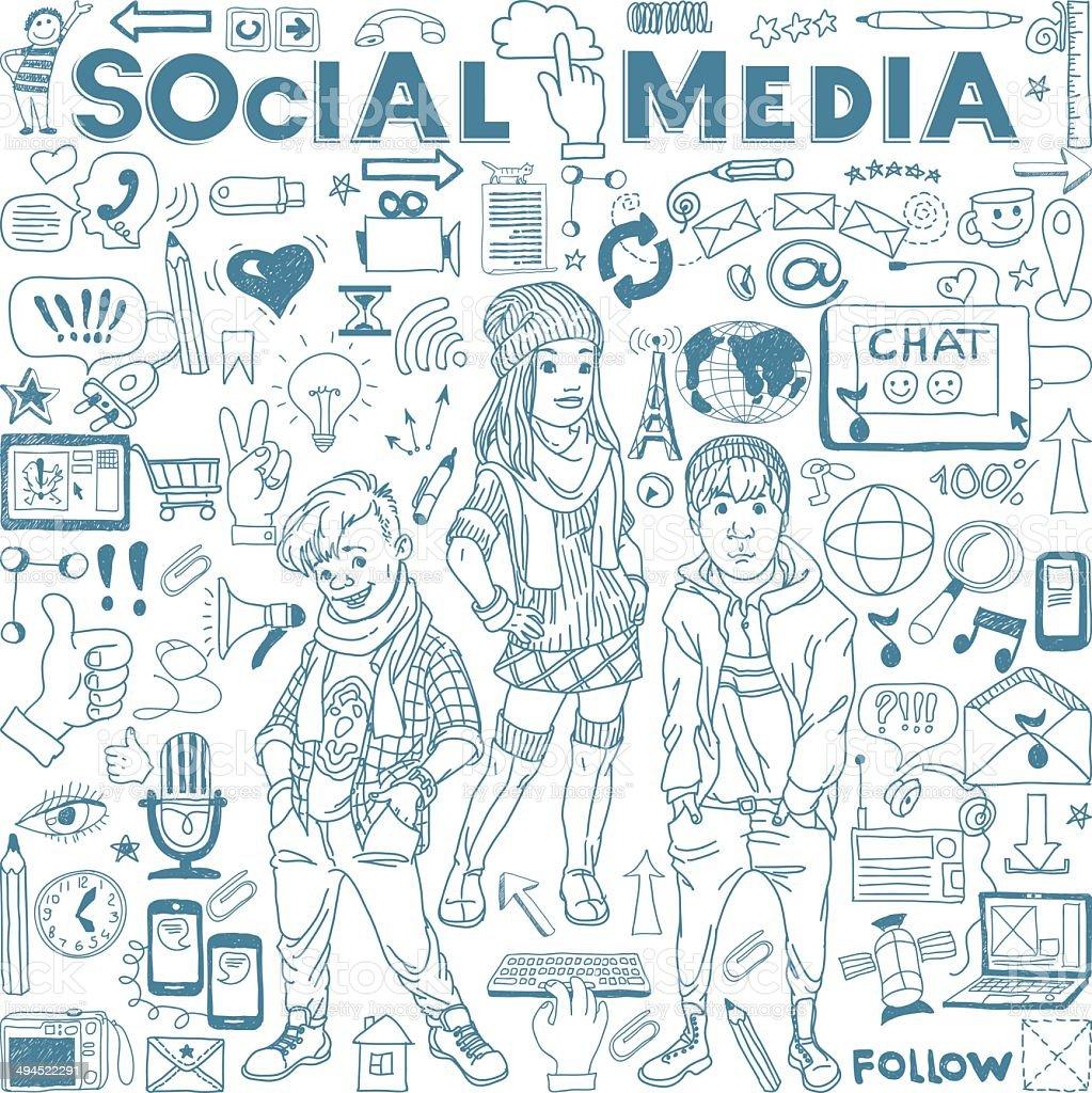Social media icons set vector art illustration