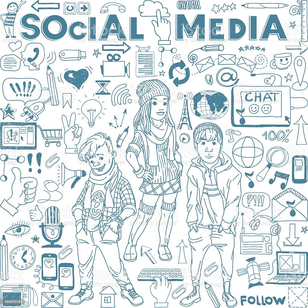 Social media icons set vector art illustration