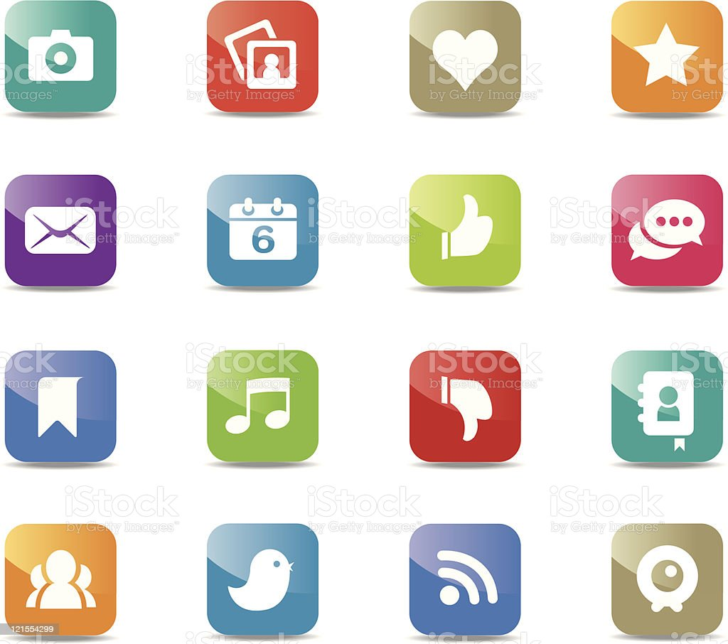 Social media icons - Square royalty-free stock vector art