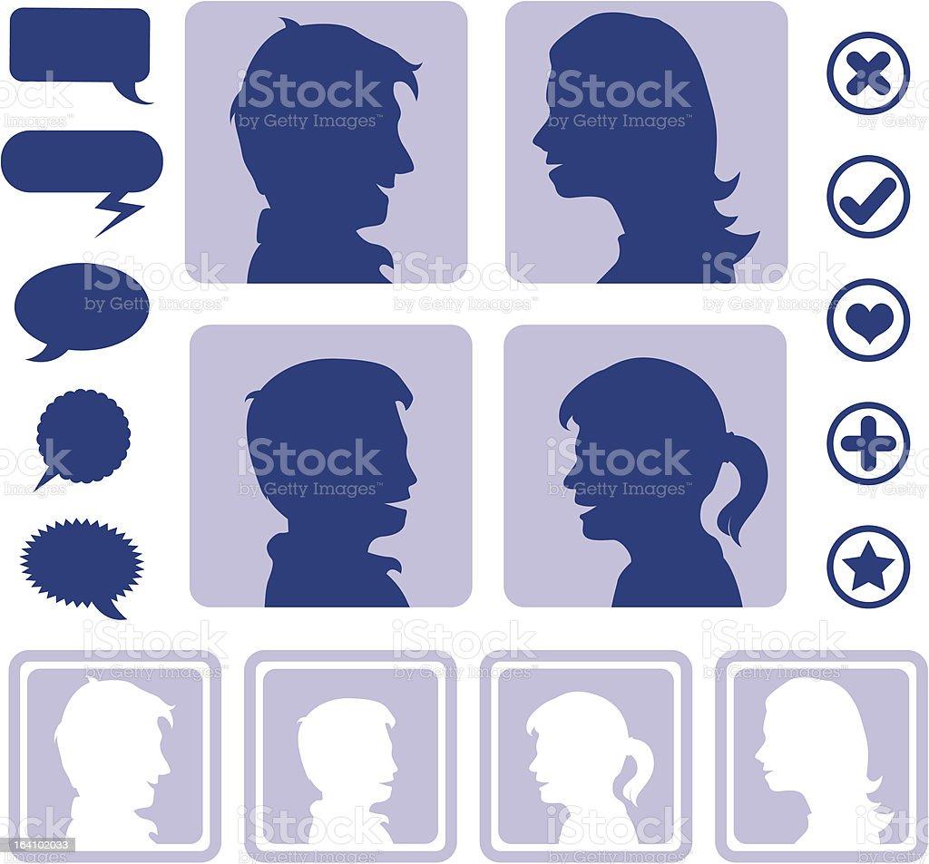 Social media icons to create an avatar royalty-free stock vector art