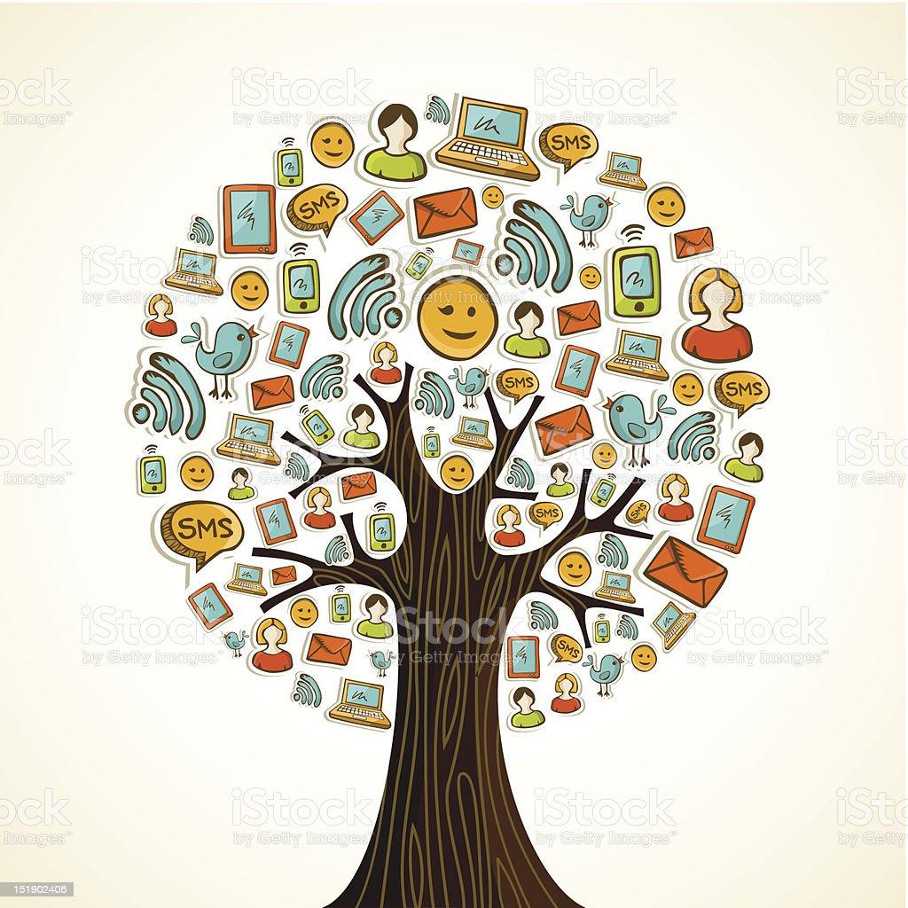 Social media icons tree royalty-free stock vector art