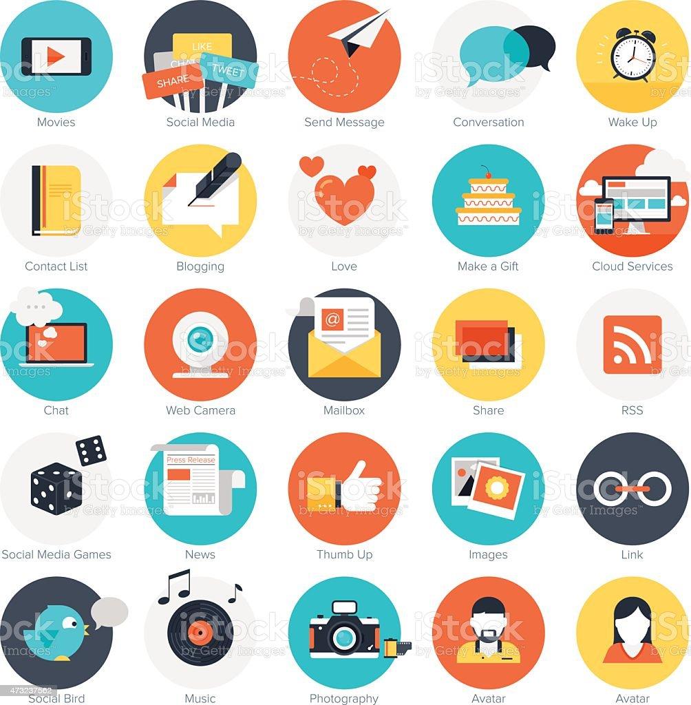 Social media icons. vector art illustration