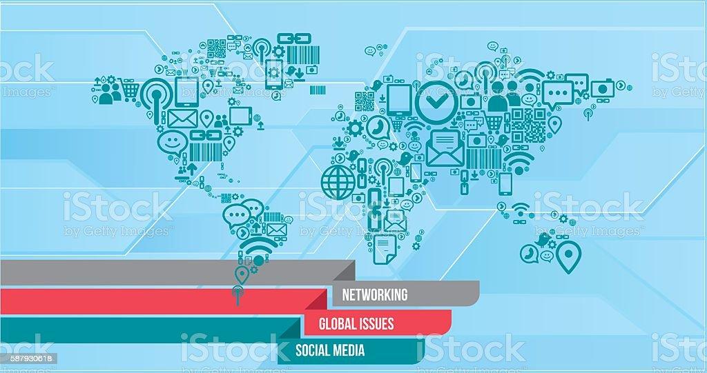 Social media Infographics vector art illustration
