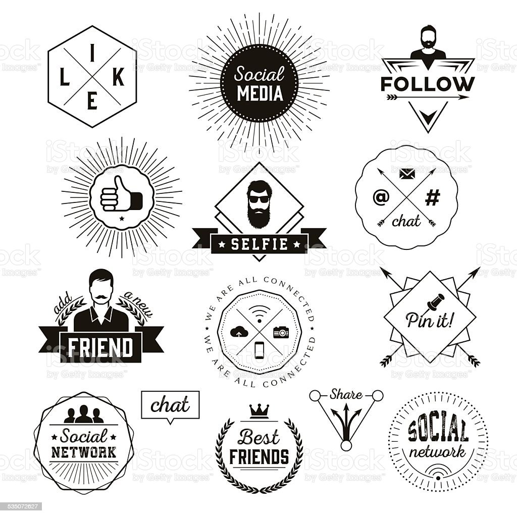 Social media labels vector art illustration
