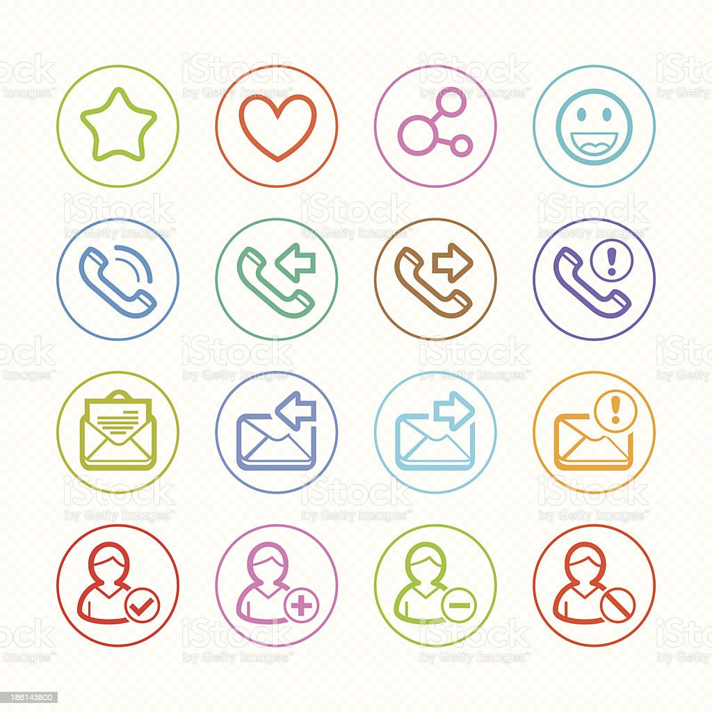 Social Media line color icons set # Vector illustration royalty-free stock vector art
