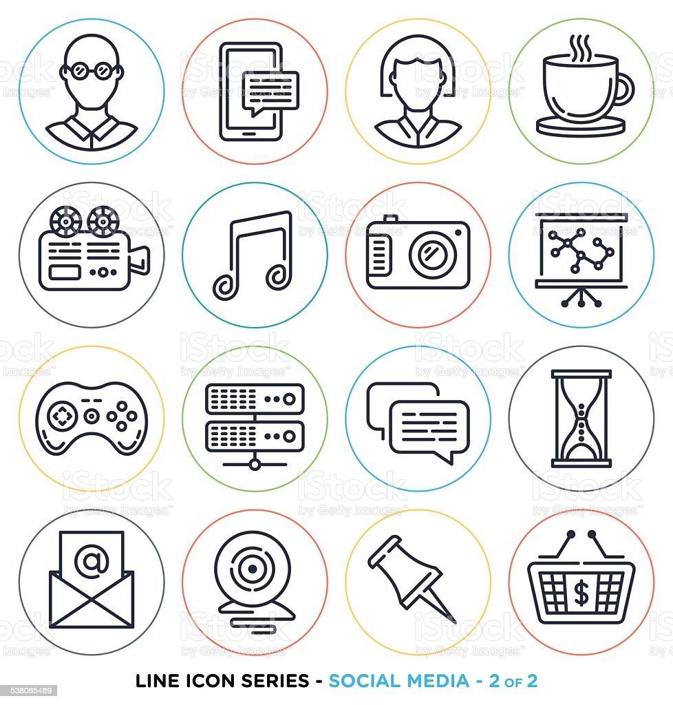 Social media line icons vector art illustration