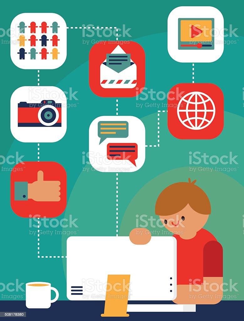 Social Media Manager vector art illustration