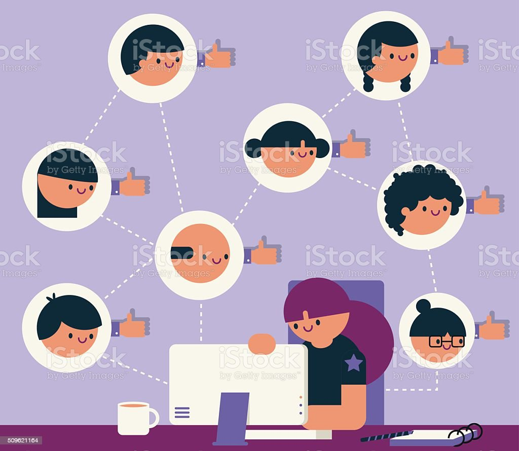 Social Media Manager vector art illustration