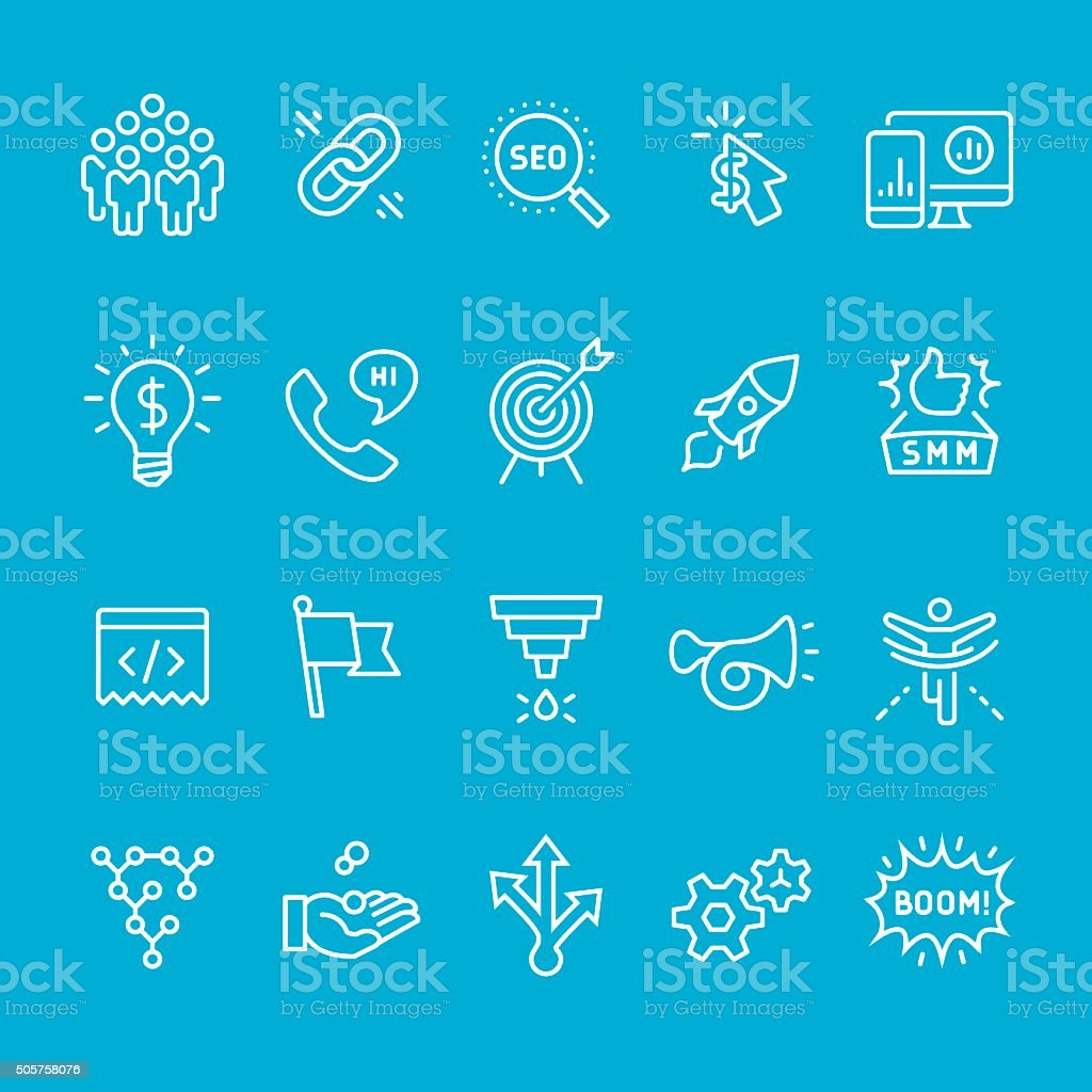 Social media marketing icons collection vector art illustration