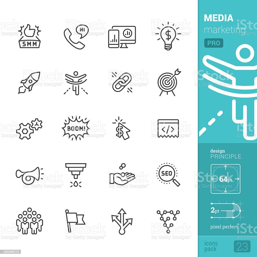 Social Media Marketing related vector icons - PRO pack vector art illustration