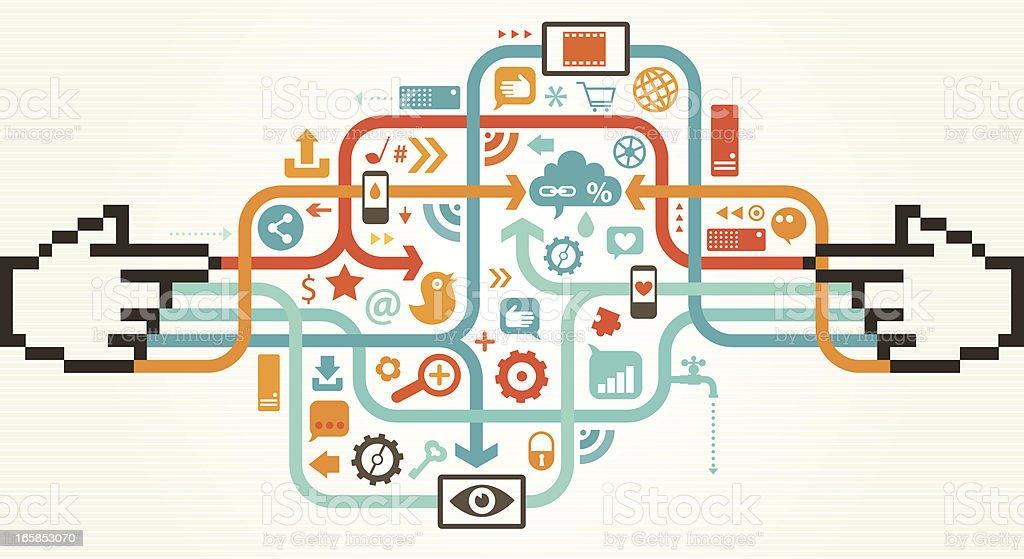 Social Media Michelangelo Touch Concept vector art illustration