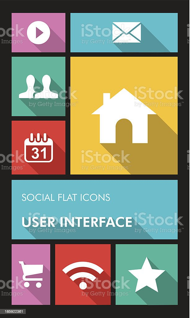 Social media mobile  applications graphic user interface flat icons set. royalty-free stock vector art