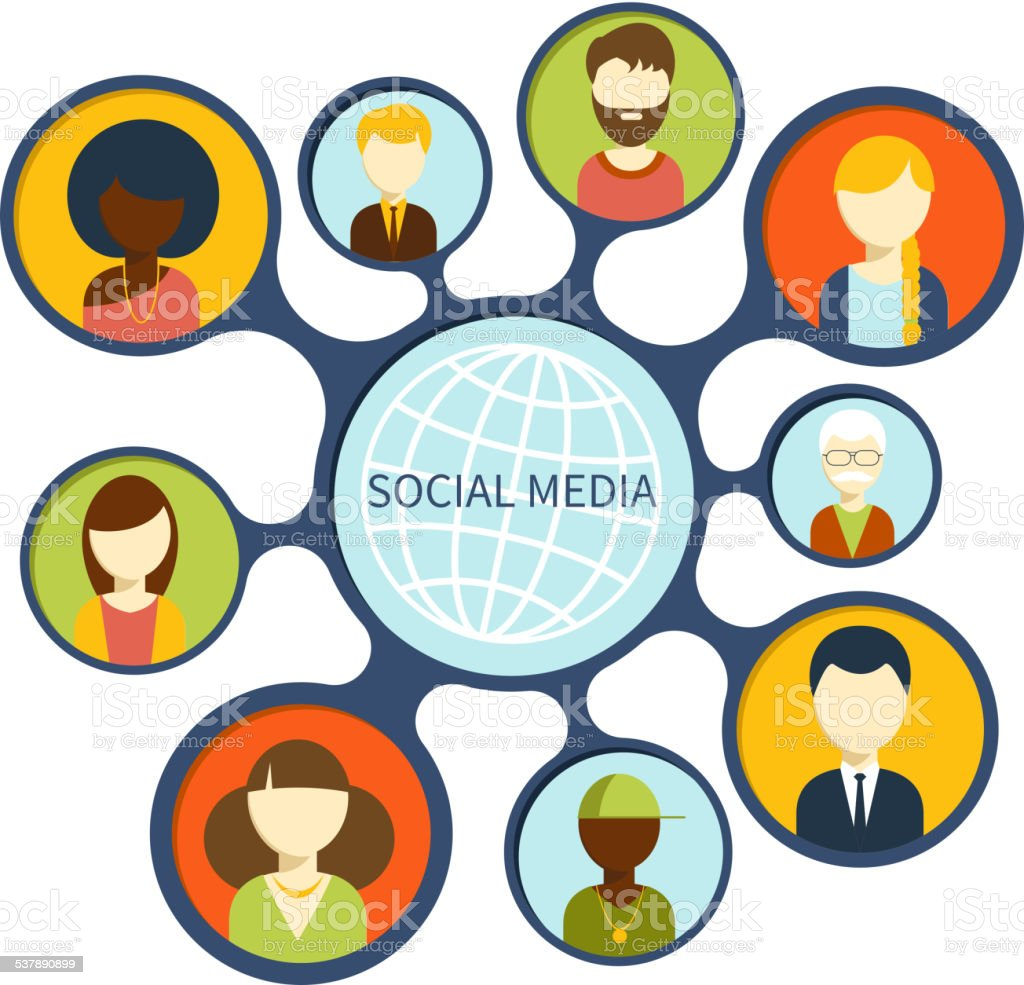 Social media network connection concept vector art illustration