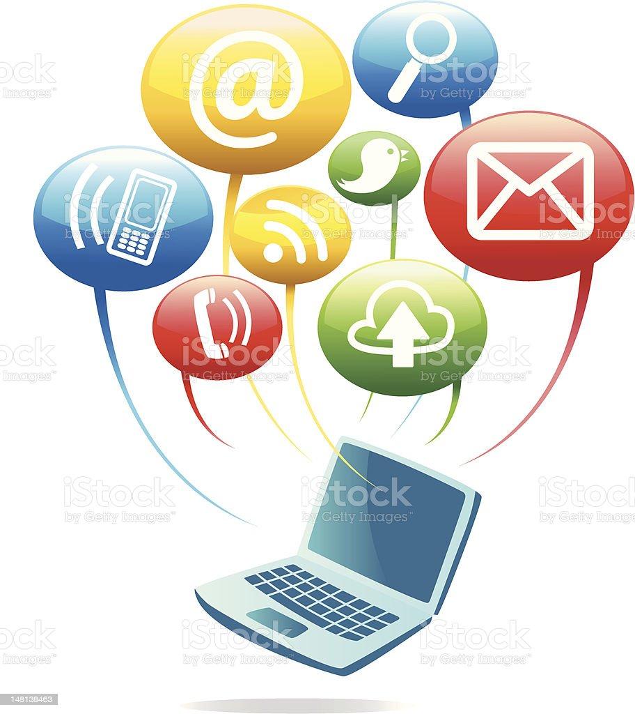 Social Media Networking - Computer vector art illustration
