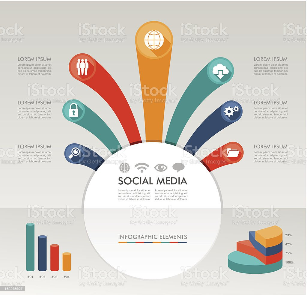 Social media networks infographics diagram with information icons, elements set. royalty-free stock vector art