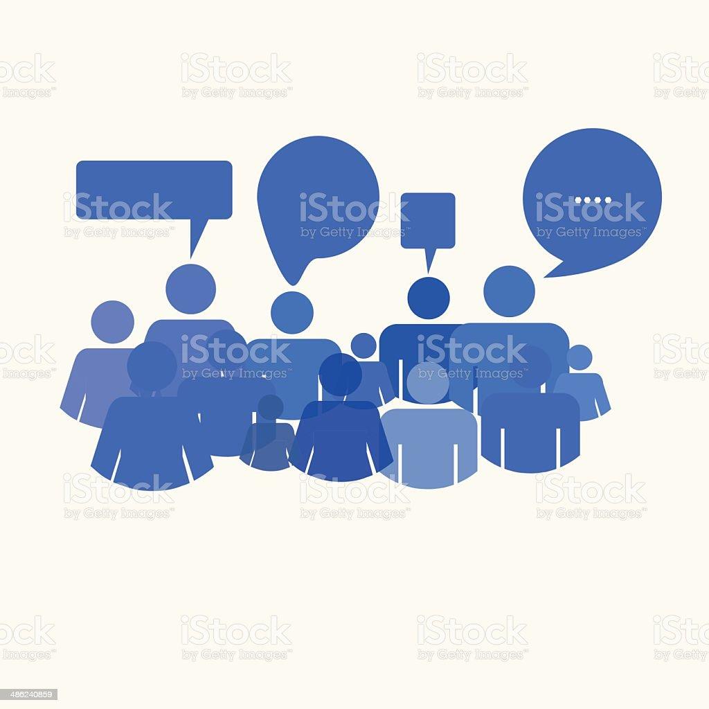 social media people meet inside a communication speech bubble royalty-free stock vector art