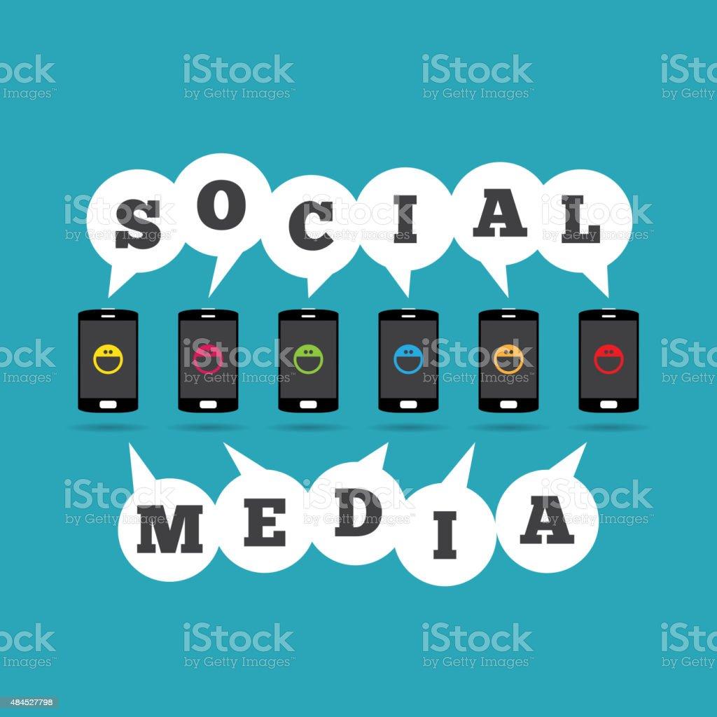 Social Media Phones vector art illustration