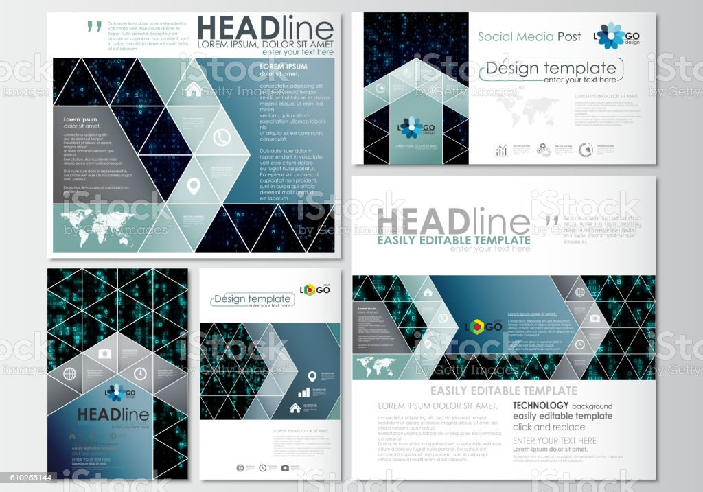 Social media posts set. Business templates. Cover design template, flat vector art illustration