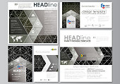 Social media posts set. Business templates. Easy editable vector design