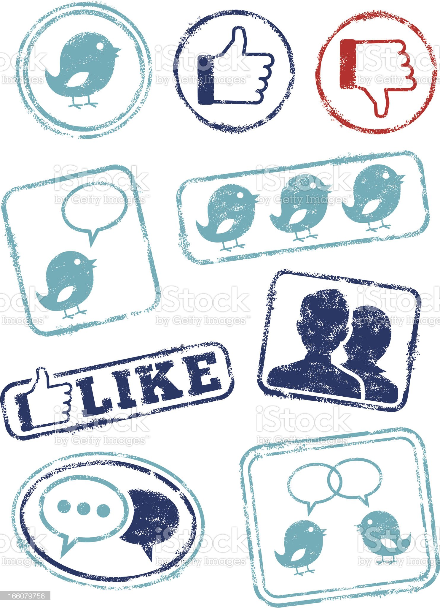 Social media rubber stamps royalty-free stock vector art