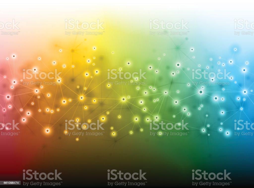 Social media science technology rainbow background vector art illustration