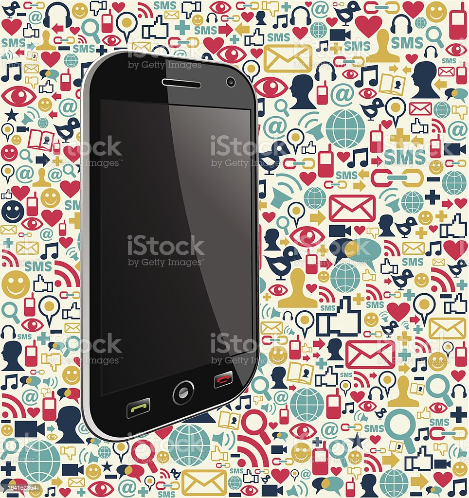 Social media smartphone royalty-free stock vector art