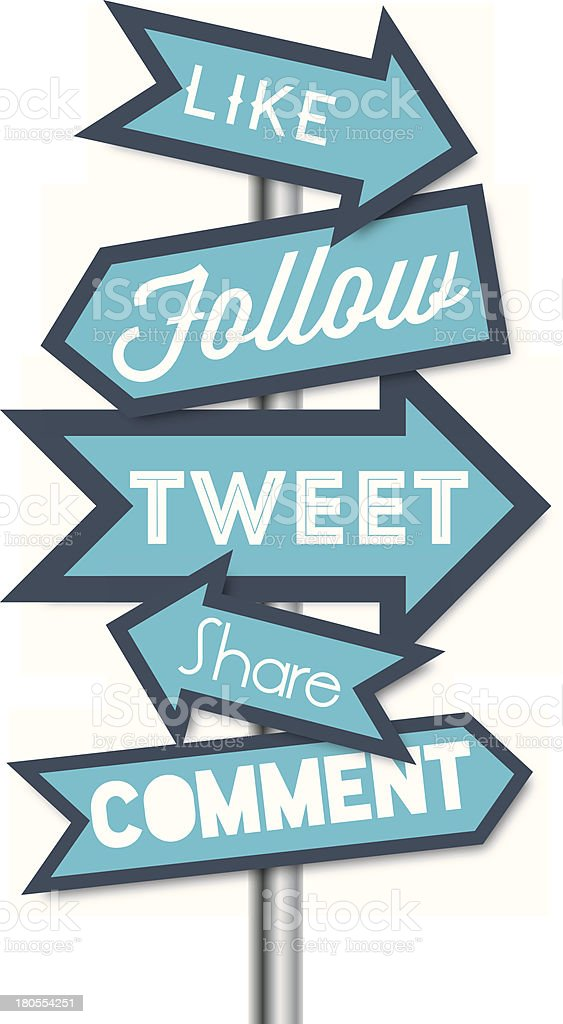 Social media terms signpost vector illustrations vector art illustration