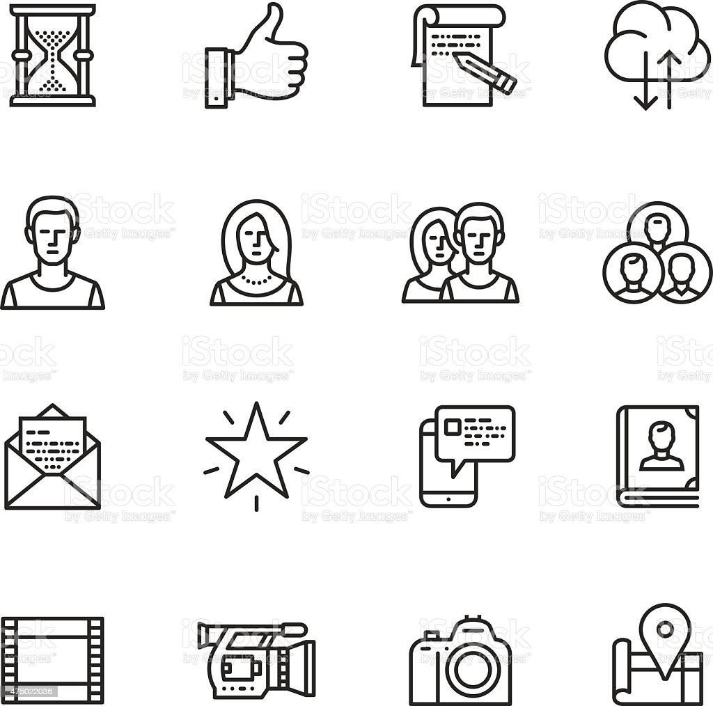 Social media Thin Line icons vector art illustration