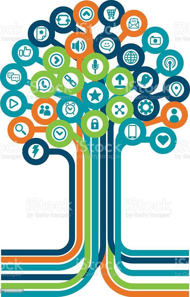 Social media tree vector art illustration