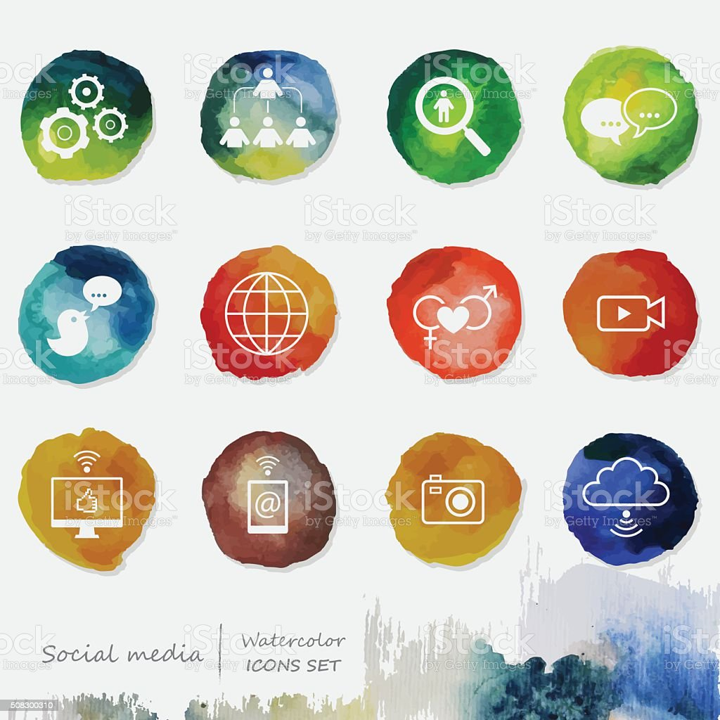 Social Media Watercolor Icons Set vector art illustration