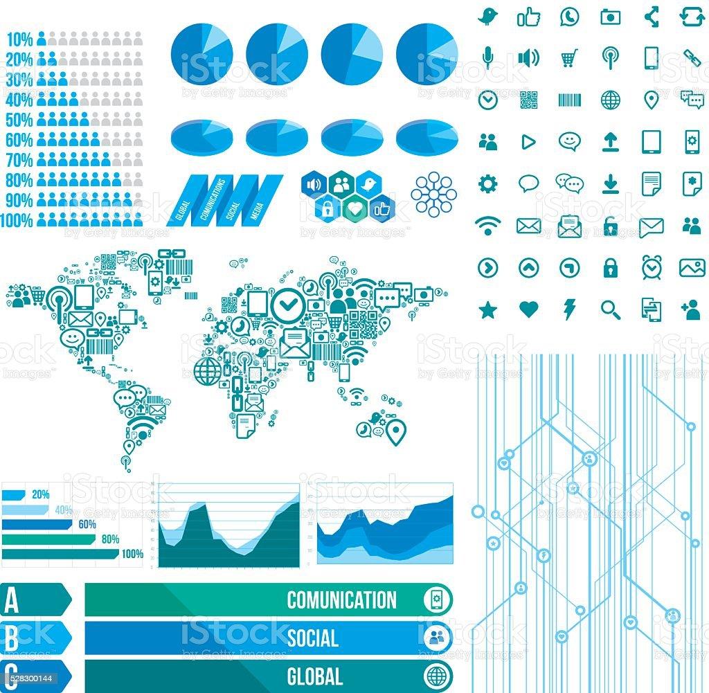 Social Network and global comunication elements vector art illustration