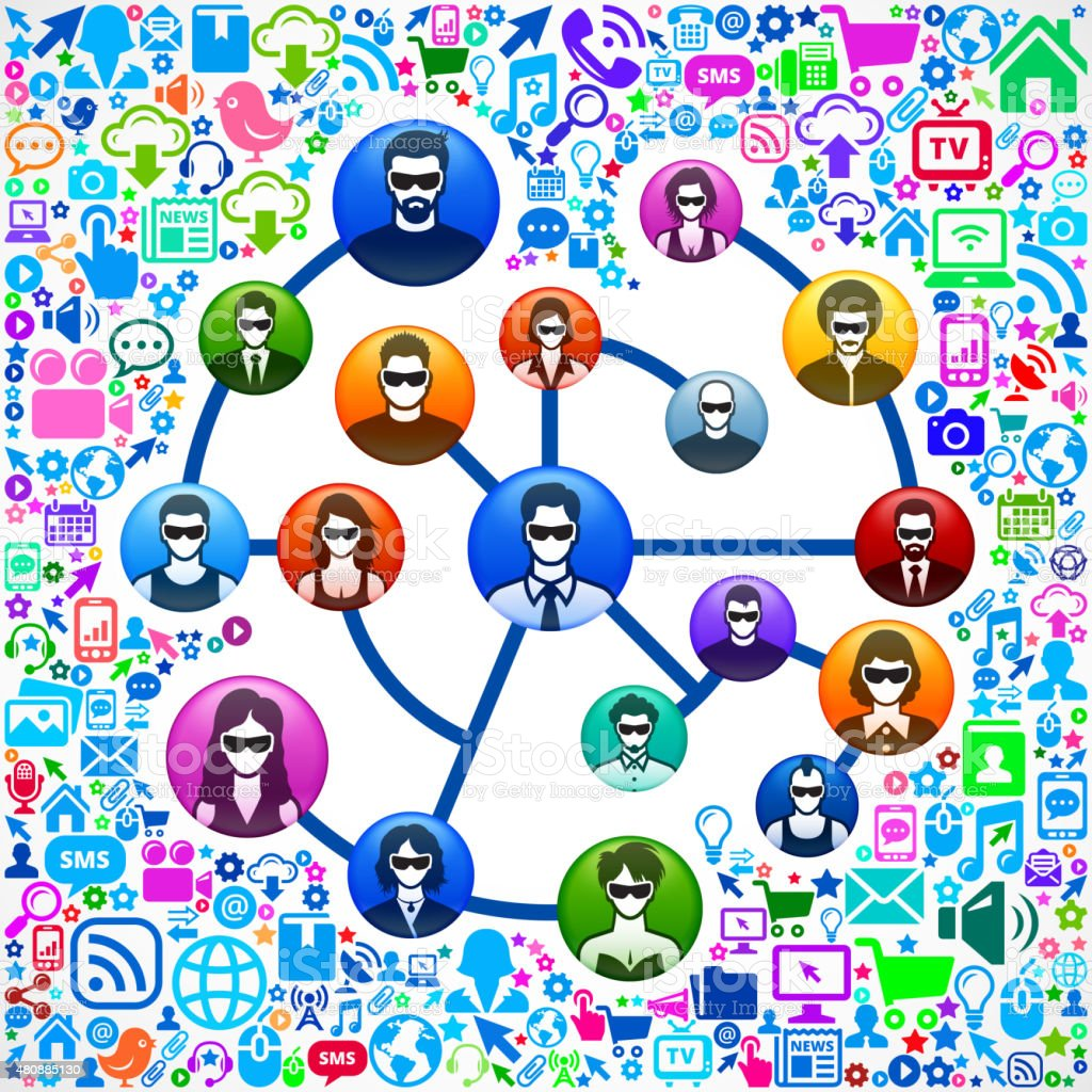 Social Network and Virtual Reality Experience Icon Set vector art illustration