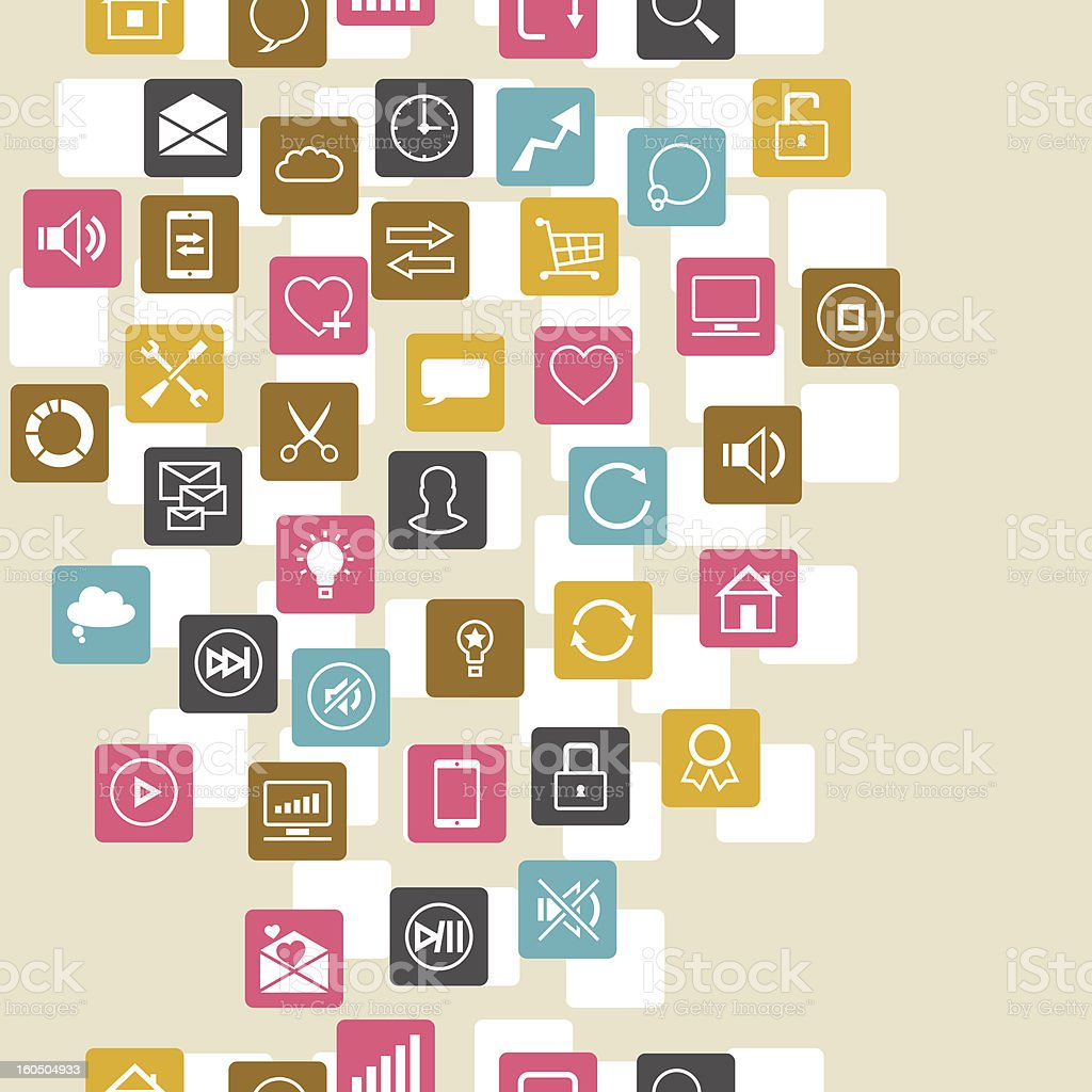 Social network background of SEO internet icons. royalty-free stock vector art