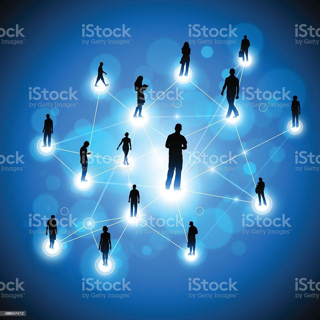 Social network background vector art illustration