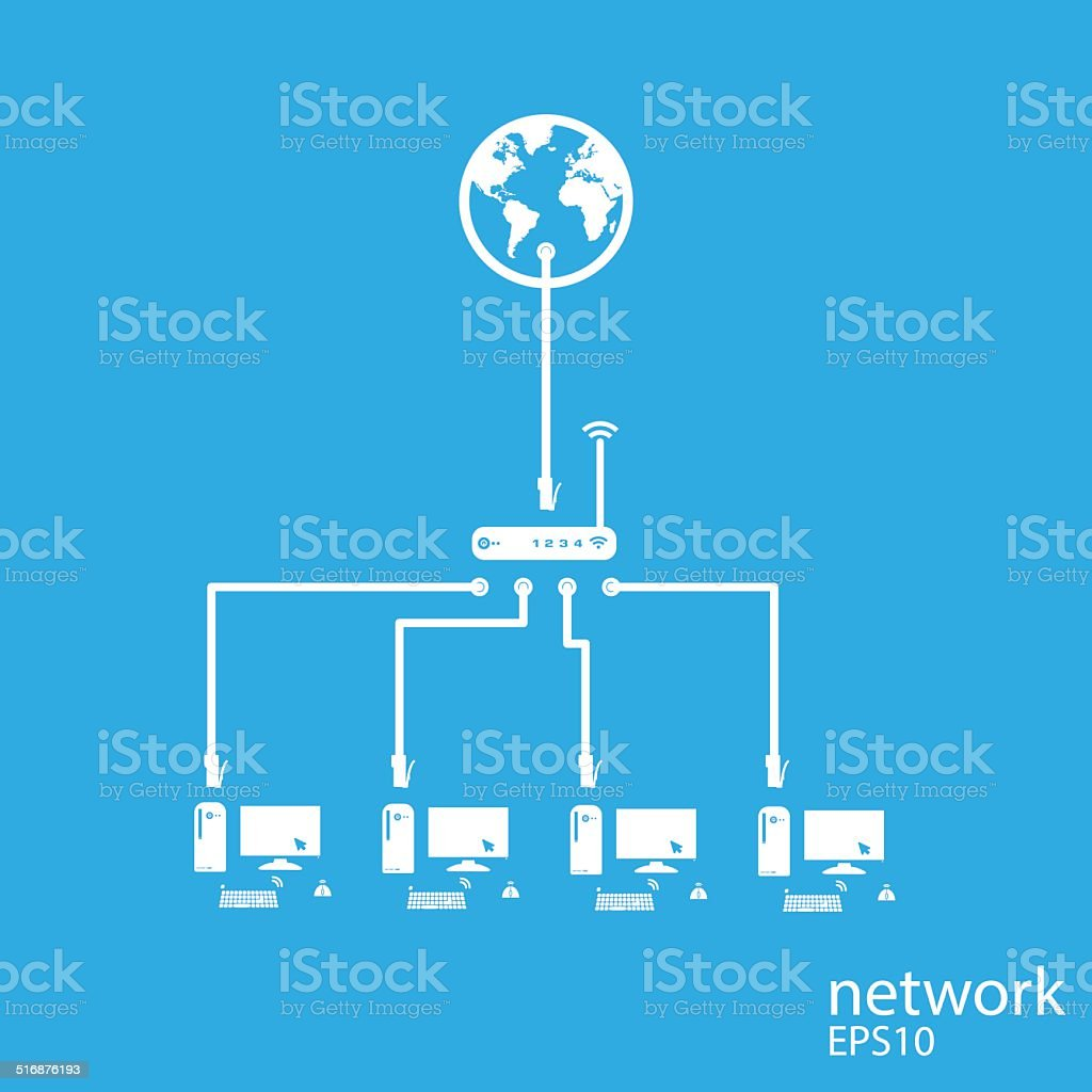 Social network background with computer media icons vector art illustration