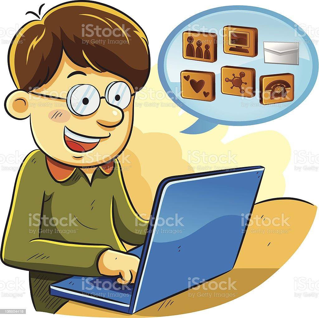 Social Network Boy royalty-free stock vector art