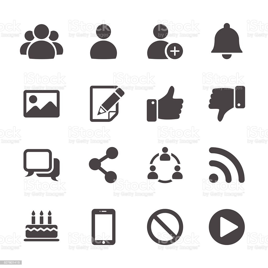 social network communication icon set, vector eps10 vector art illustration