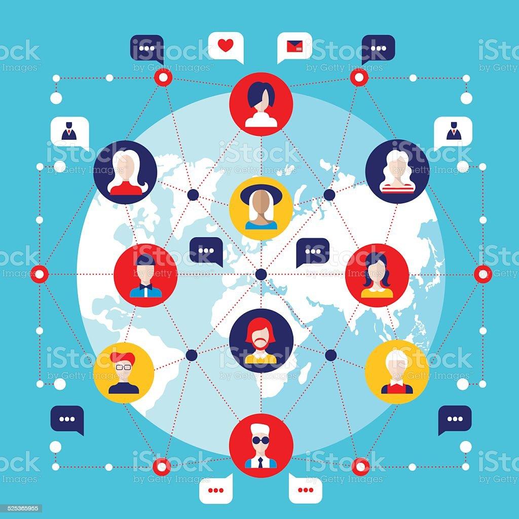 Social network concept  Global communication infographic elements vector art illustration