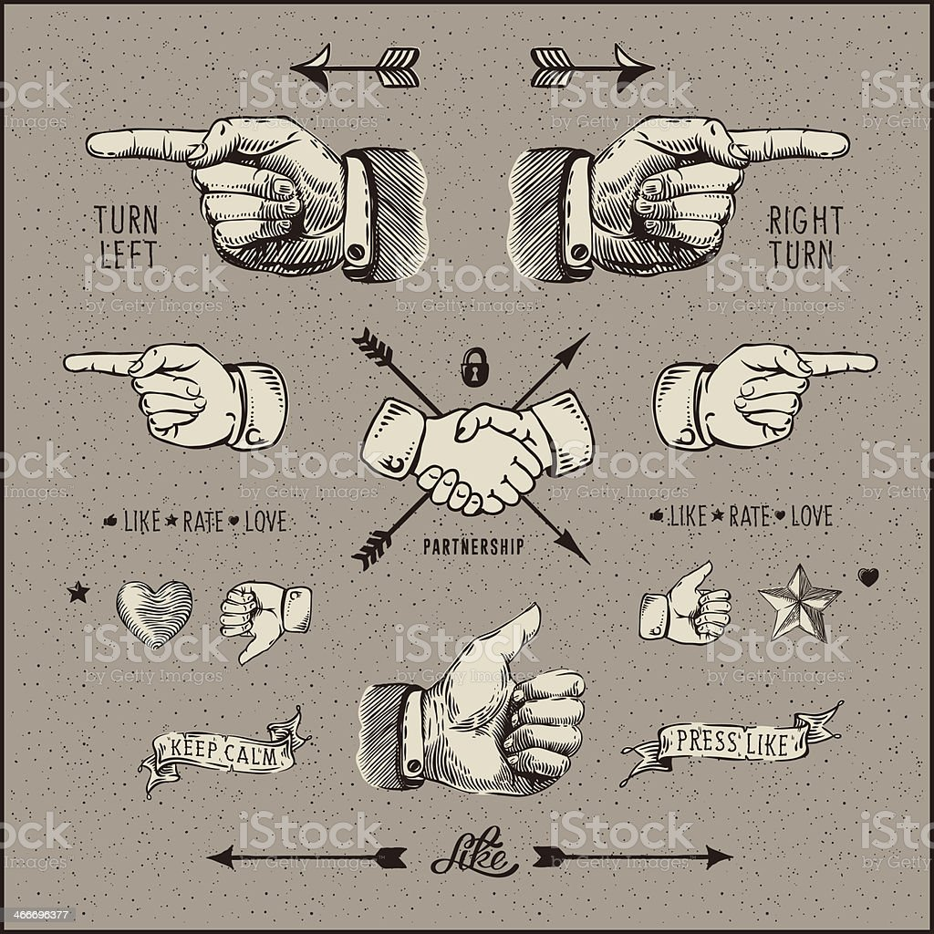 Social network design elements, vintage gravure style. vector art illustration