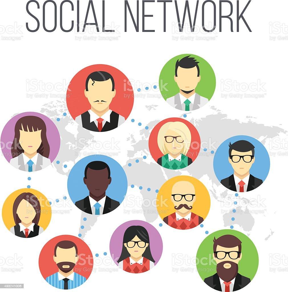 Social network flat illustration vector art illustration