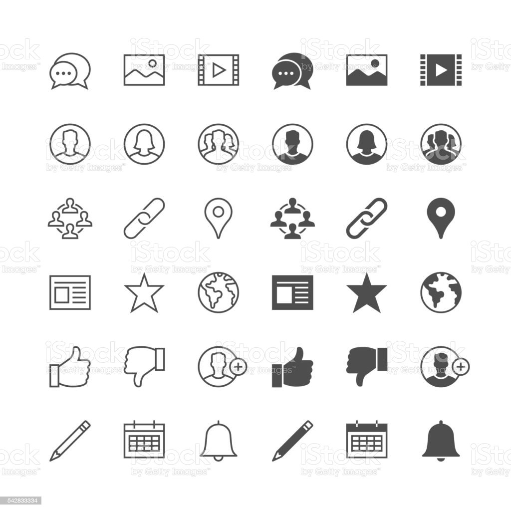Social network icons, included normal and enable state. vector art illustration