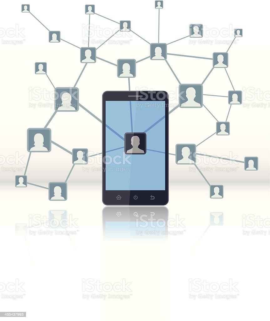 Social Network in Mobile royalty-free stock vector art